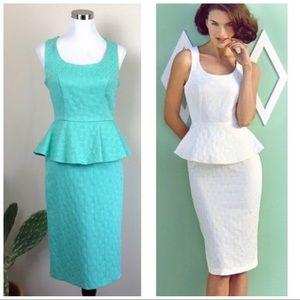 •ASOS• Mint Sleeveless Peplum Jacquard Midi Dress